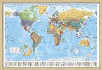 Framed Poster World Map - Political