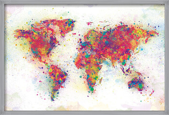 Framed Poster World Map - Colour Splash