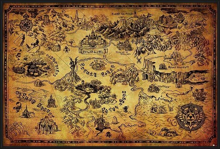 The Legend Of Zelda - Hyrule Map Poster