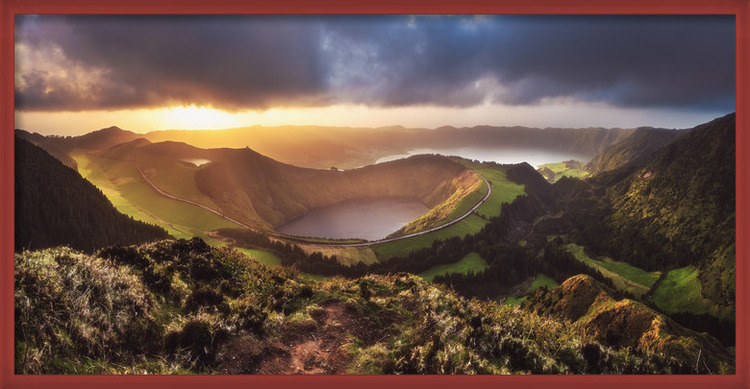 Art Print on Demand Azores - Sete Cidades Sunset Panorama