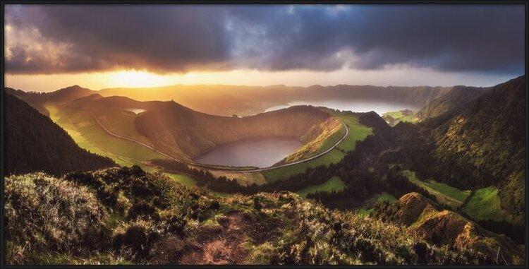 Art Print on Demand Azores - Sete Cidades Sunset Panorama